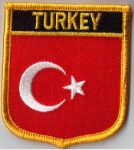 Turkey Embroidered Flag Patch, style 07.